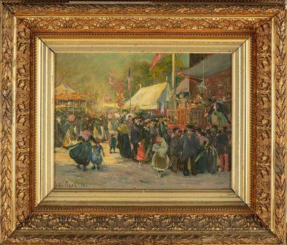 Alex LIZAL (1878-1915) Scène de foire Huile...