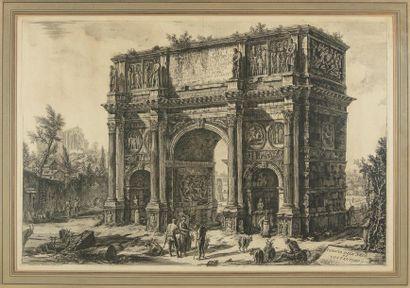D'après Giovanni-Battista PIRANESI dit le PIRANESE (1720 - 1778) Veduta del arco...