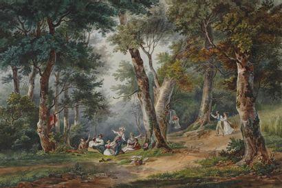 ÉCOLE FRANCAISE (?) vers 1830 Le pique-nique...