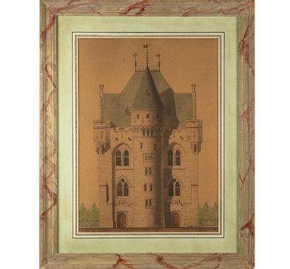 Louis ESSERS - ÉCOLE BELGE (?) du XIXe Vue de monuments médiévaux: La porte de...