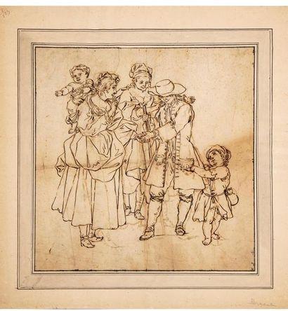 Dominique PERGAUT (1729-1808) attribué à La diseuse de bonne aventure Dessin à l'encre...