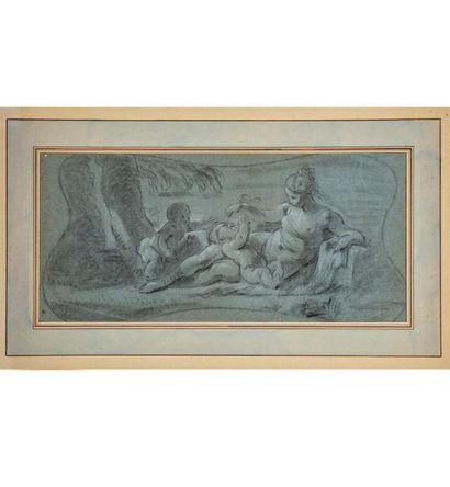 ÉCOLE FRANCAISE du XVIIIe Nymphe et putti...