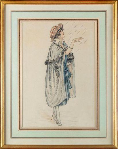 ÉCOLE MODERNE - circa 1920 Élégante sous...