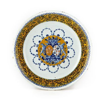 Rouen Assiette en faïence à décor bleu, rouge...