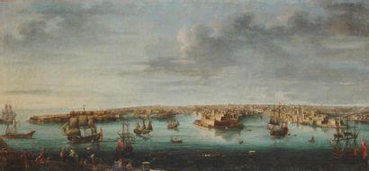 Alberto PULLICINO (actif au 18ème) Malte, vue du port des Anglais, du Bichi, du...