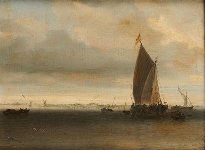 Salomon Van RUYSDAEL ( vers 1600/1603 - 1670) Voilier au large Panneau de chêne...