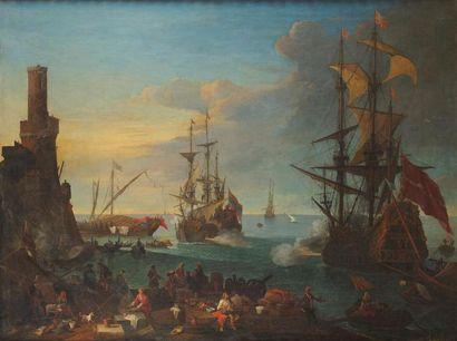 Adrien MANGLARD (1695-1760) Cannonade dans un port méditerranéen toile Hauteur :...