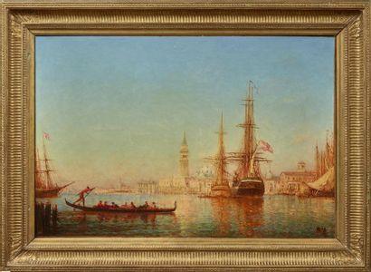 Félix ZIEM (1821 - 1911) Flotte dans le Bassin de Saint Marc Huile sur toile, signée...