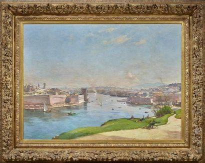 Étienne Philippe MARTIN (1856/58 - 1945) Marseille, l'entrée du vieux port Huile...