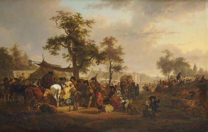 Jean Louis DEMARNE (Bruxelles 1744 - Paris 1829) Le marché ou La foire au joueur...