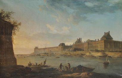 Jean Baptiste François GENILLION (? 1750 - Paris, 1829) Vue du Louvre depuis le...