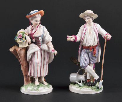 Niderviller  Paire de statuettes en faïence...