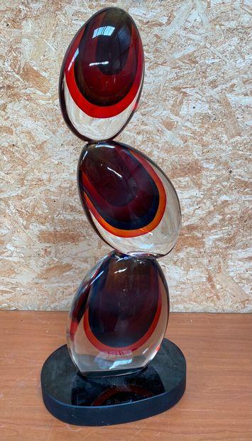 Romano DONA (Né en 1956)  Sculpture en verre...