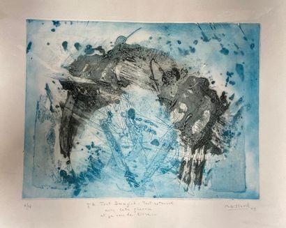 "Marie-Geneviève HAVEL (1931-2017)  Set of five framed engravings :  - ""Who passes..."