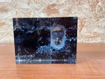 Edmée DELSOL ?  Visage  Deux blocs de verre blanc bullé à incrustation de matière...