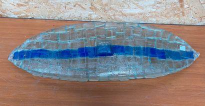 Roselyne BLANC-BESSIERE  Croissant de verre  Coupe oblonge en verre transparent...