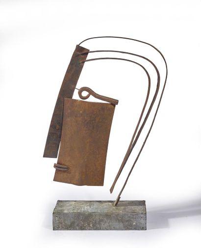 Attribué à Christophe  Visage  Acier et bronze de recupération  Hauteur avec le...