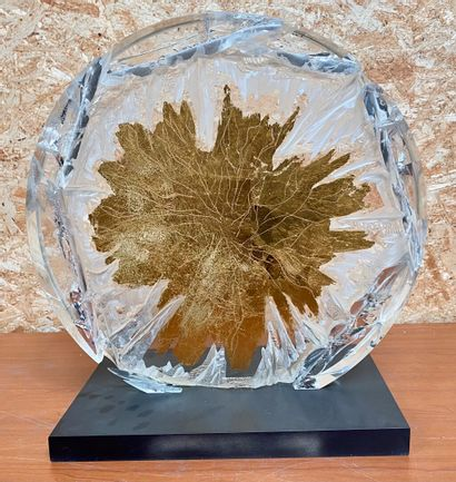 Paule BATHIARD  Solar  Sculpture in synthetic crystal (PMMA) and gold leaf. On a...