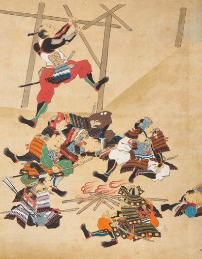 JAPON - Epoque EDO (1603 - 1868)  Trois rouleaux e-maki, encre, couleurs et or sur...