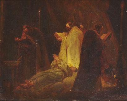 FRENCH SCHOOL circa 1820  Exorcism scene...
