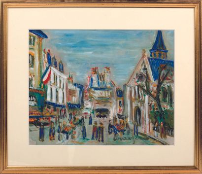 MODERN SCHOOL  View of Paris  Pastel and...