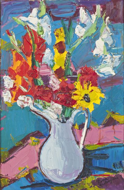 Pierre AMBROGIANI (1907-1985)  Flowers with...
