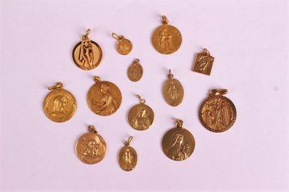 SET of fourteen medals of round, rectangular...