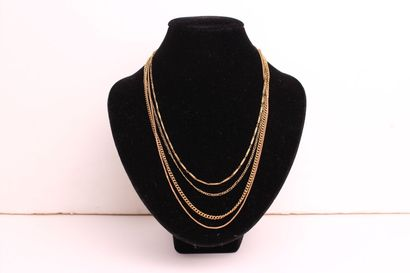 SET of four articulated necklaces in yellow...