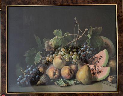 Ecole du XIXe siècle  Nature morte aux fruits...