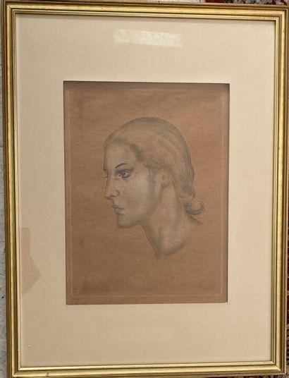 Tsuguharu FOUJITA (1886 - 1968)  Portrait...