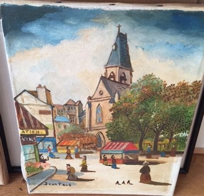 Jean FOUS (1901-1971) Eglise Saint Médard, Paris, 1950 Huile sur toile signée en...