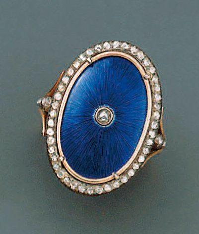 BAGUE ovale en or et argent émaillée bleu...