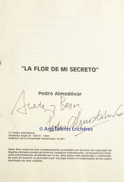 PEDRO ALMODOVAR  Tapuscrit relié du film...
