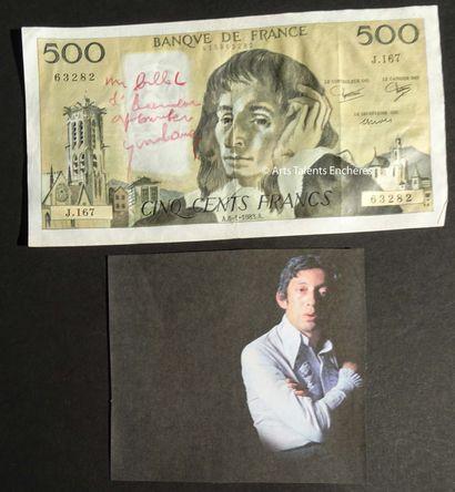 SERGE GAINSBOURG  Billet de 500frs avec autographe...