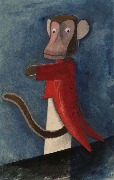LA BRANCHE DE HOUX, 1938 L'ouistiti, gouache...