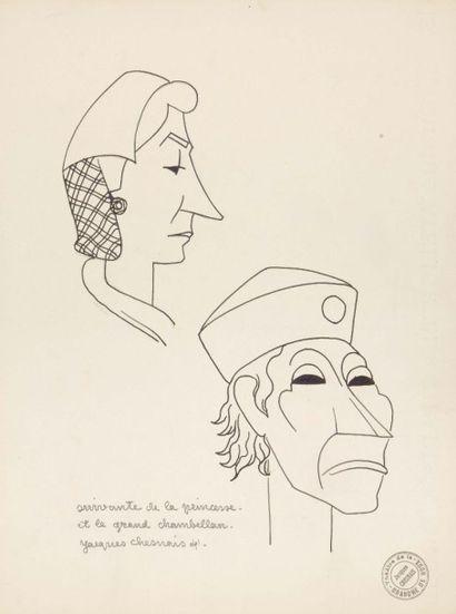 12 ÉTUDES DE TÊTES 1941, plume, 25 x 33 cm,...