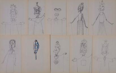 10 DESSINS DE MAROTTES crayon noir; 26 x...