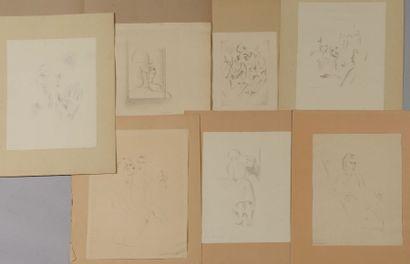 7 PROJETS Crayon, signé et daté 1931. Différents...