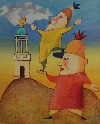 LES ACROBATES Huile sur toile, 38 x 46 c...