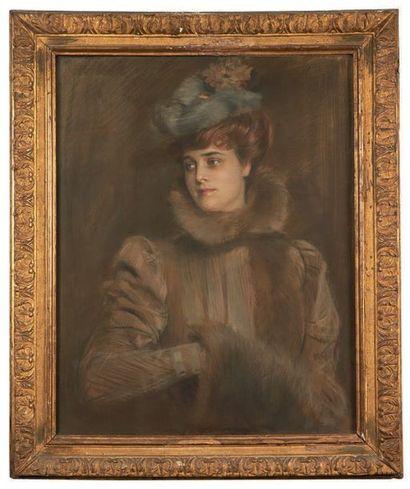 École Française du XIXe siècle Portrait of Louise Chéruit, circa 1900 Oil on canvas....