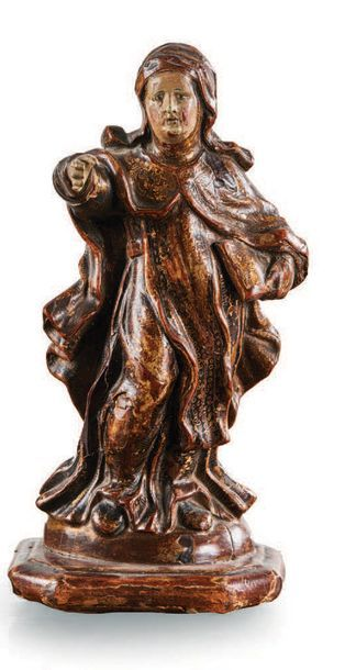 SAINTE MONIALE Scholastique?, en bois sculpté...