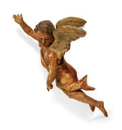 ANGE en bois sculpté en ronde-bosse, polychromé...