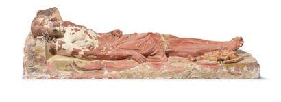 CHRIST MORT en terre cuite avec restes de...