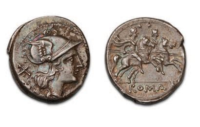 ANONYME (211-208 BC) Denier. Head helmeted from Rome on the right. R/L Dioscuri...