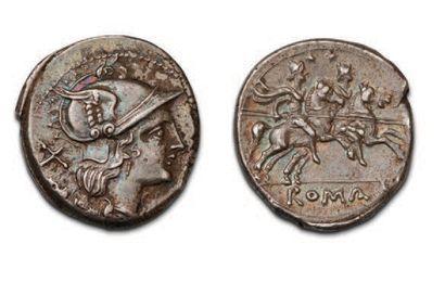 ANONYME (211-208 BC) Denier. Head helmeted...