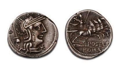 POSTUMIA (131 BC) Denier. Head helmeted from...