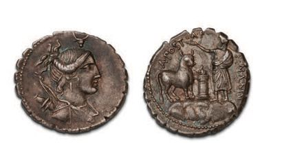 POSTUMIA (81 B.C.) Toothed penny. Diane's...