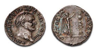 VESPASIAN (69-79) Denier. His head laced...