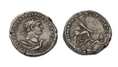 TRAJAN (98-117) Tetradrachma. Tyr. His head...