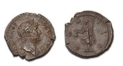 HADRIEN (117-138) Denier. His head laced...